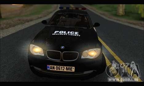 BMW 120i USA Police pour GTA San Andreas vue de droite