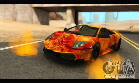 Lamborghini Murcielago In Flames für GTA San Andreas zurück linke Ansicht