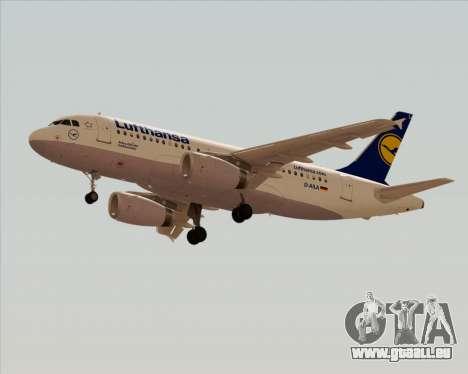 Airbus A319-100 Lufthansa pour GTA San Andreas sur la vue arrière gauche