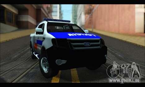 Ford Ranger P.B.A 2015 pour GTA San Andreas sur la vue arrière gauche