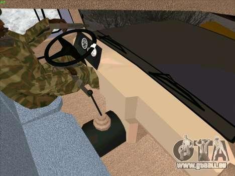 GAZ 3309 Neige pour GTA San Andreas vue intérieure
