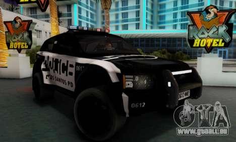 Bowler EXR S 2012 v1.0 Police pour GTA San Andreas sur la vue arrière gauche