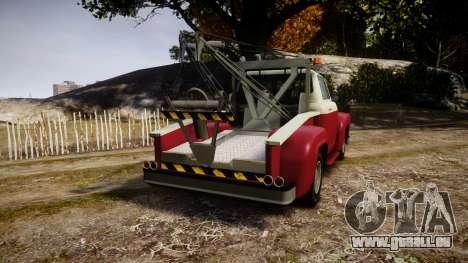 Vapid Towtruck Restored stripeless tires pour GTA 4 Vue arrière de la gauche