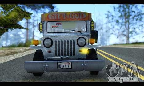 Sarao Stainless pour GTA San Andreas sur la vue arrière gauche