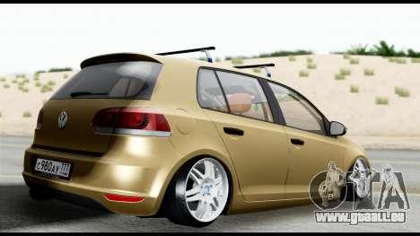 Volkswagen Golf 6 pour GTA San Andreas laissé vue