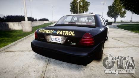 Ford Crown Victoria Highway Patrol [ELS] Slickto für GTA 4 hinten links Ansicht