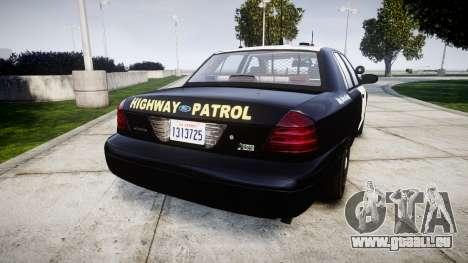 Ford Crown Victoria Highway Patrol [ELS] Slickto pour GTA 4 Vue arrière de la gauche