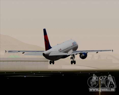 Airbus  A320-200 Delta Airlines für GTA San Andreas obere Ansicht