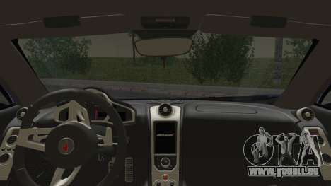 McLaren MP4-12C Gawai v1.5 HQ interior pour GTA San Andreas sur la vue arrière gauche