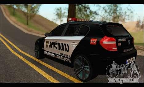 BMW 120i GEO Police pour GTA San Andreas sur la vue arrière gauche