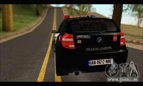 BMW 120i GEO Police pour GTA San Andreas vue de droite