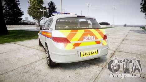 Vauxhall Astra 2009 Police [ELS] 911EP Galaxy pour GTA 4 Vue arrière de la gauche