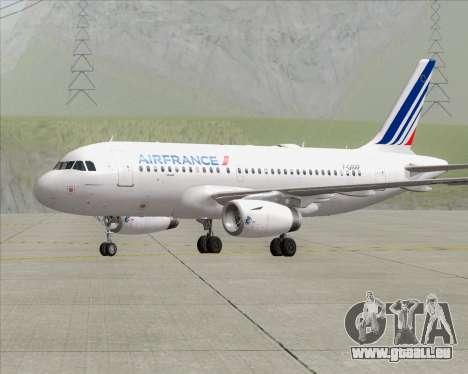 Airbus A319-100 Air France pour GTA San Andreas sur la vue arrière gauche
