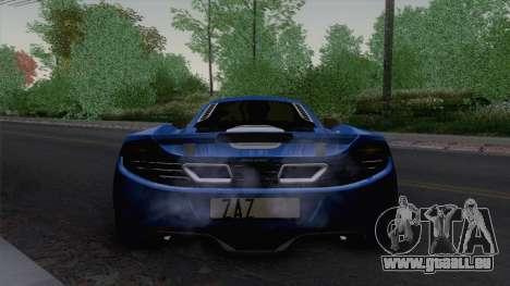 McLaren MP4-12C Gawai v1.5 HQ interior pour GTA San Andreas vue arrière