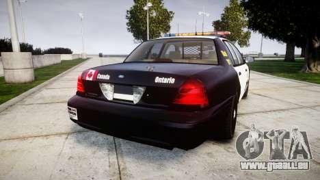 Ford Crown Victoria Ontario Police [ELS] pour GTA 4 Vue arrière de la gauche