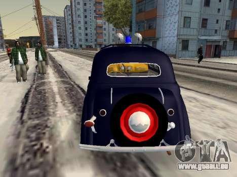 Moskvich 400 Police pour GTA San Andreas sur la vue arrière gauche