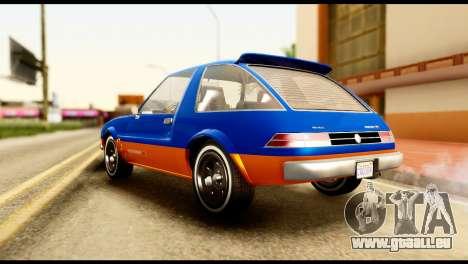Declasse Rhapsody from GTA 5 pour GTA San Andreas sur la vue arrière gauche