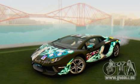 Itasha PJ from Lamborghini Aventador LP700-4 pour GTA San Andreas sur la vue arrière gauche