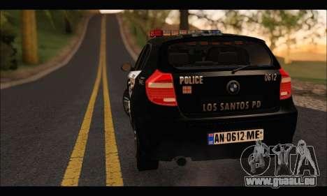BMW 120i USA Police pour GTA San Andreas vue arrière
