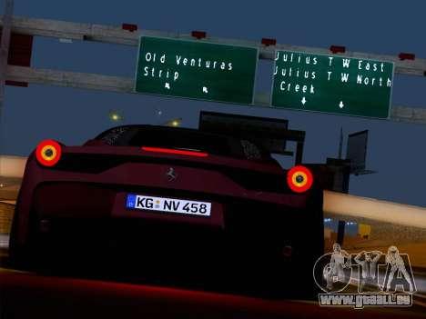 Ferrari 458 Special für GTA San Andreas Innenansicht