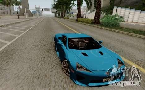 Lexus LF-A 2010 pour GTA San Andreas sur la vue arrière gauche