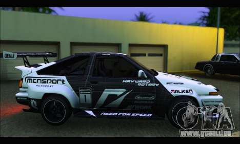 Toyota Corolla Trueno Team DMAC pour GTA San Andreas laissé vue