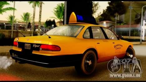 GTA 4 Vapid Stanier Downtown Cab für GTA San Andreas zurück linke Ansicht