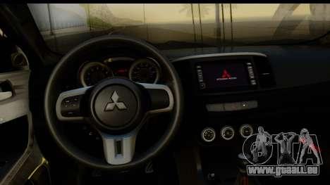 Mitsubishi Lancer X Stock pour GTA San Andreas vue arrière