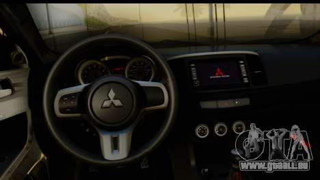 Mitsubishi Lancer X Stock für GTA San Andreas Rückansicht