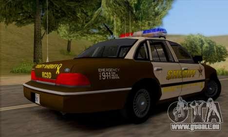 Ford Crown Victoria 1994 Sheriff pour GTA San Andreas vue de droite
