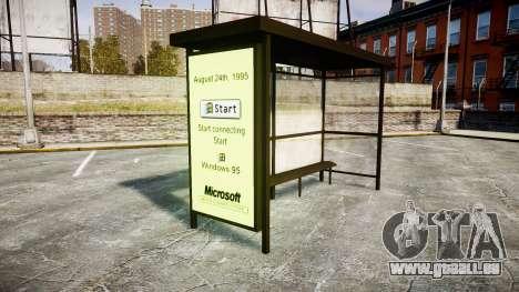 Werbung Windows 95 an Bushaltestellen für GTA 4 Sekunden Bildschirm