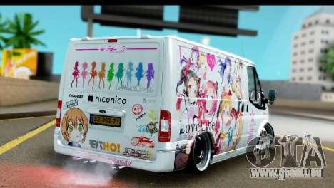 Ford Transit SWB Love Live pour GTA San Andreas sur la vue arrière gauche