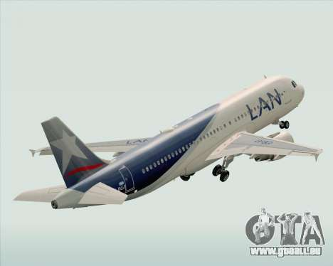Airbus A320-200 LAN Argentina für GTA San Andreas obere Ansicht