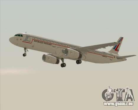 Airbus A321-200 French Government pour GTA San Andreas sur la vue arrière gauche