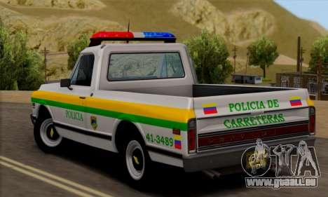 Chevrolet C10 1972 Policia pour GTA San Andreas laissé vue