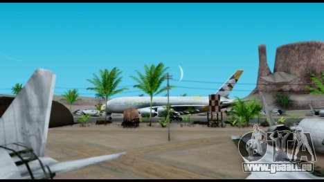 Airbus A380-800 Etihad New Livery für GTA San Andreas zurück linke Ansicht