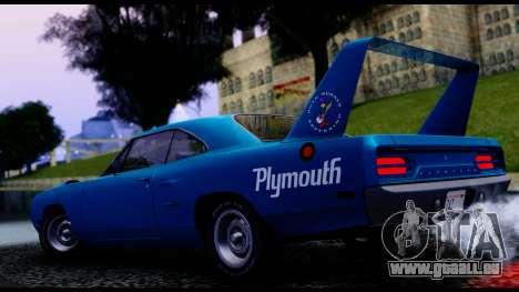 Plymouth Roadrunner Superbird RM23 1970 IVF für GTA San Andreas Rückansicht