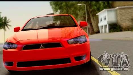 Mitsubishi Lancer X Stock pour GTA San Andreas sur la vue arrière gauche