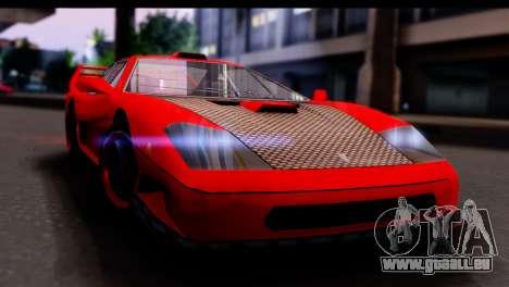 Turismo Pro X pour GTA San Andreas sur la vue arrière gauche