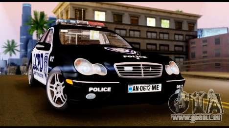 Mercedes-Benz C32 AMG Police pour GTA San Andreas laissé vue