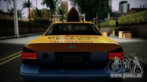 Taxi Vapid Stanier II from GTA 4 IVF pour GTA San Andreas vue intérieure