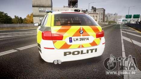 BMW 530d F11 Norwegian Police [ELS] pour GTA 4 Vue arrière de la gauche
