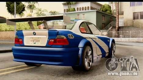 BMW M3 E46 GTR NFS MW für GTA San Andreas linke Ansicht
