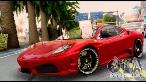 Ferrari F430 Scuderia für GTA San Andreas zurück linke Ansicht