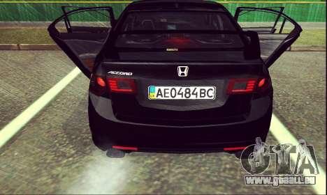 Honda Accord Type S 2008 LT für GTA San Andreas zurück linke Ansicht