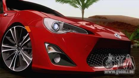 Toyota GT86 (ZN6) 2012 pour GTA San Andreas vue de dessous