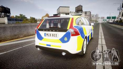 Volvo V60 Swedish Police [ELS] für GTA 4 hinten links Ansicht