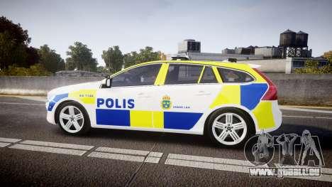 Volvo V60 Swedish Police [ELS] für GTA 4 linke Ansicht