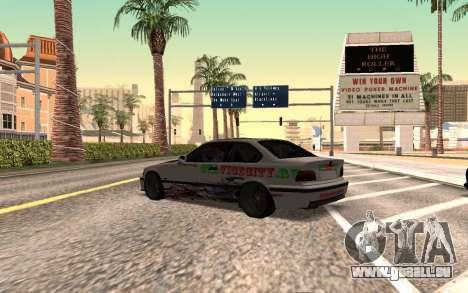BMW M3 E36 VCDT pour GTA San Andreas laissé vue