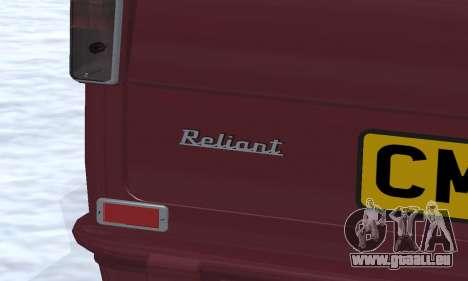 Reliant Regal Sedan pour GTA San Andreas salon